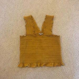 Yellow urban outfitters ruched crop top